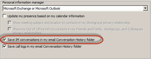 skype for business save conversation history