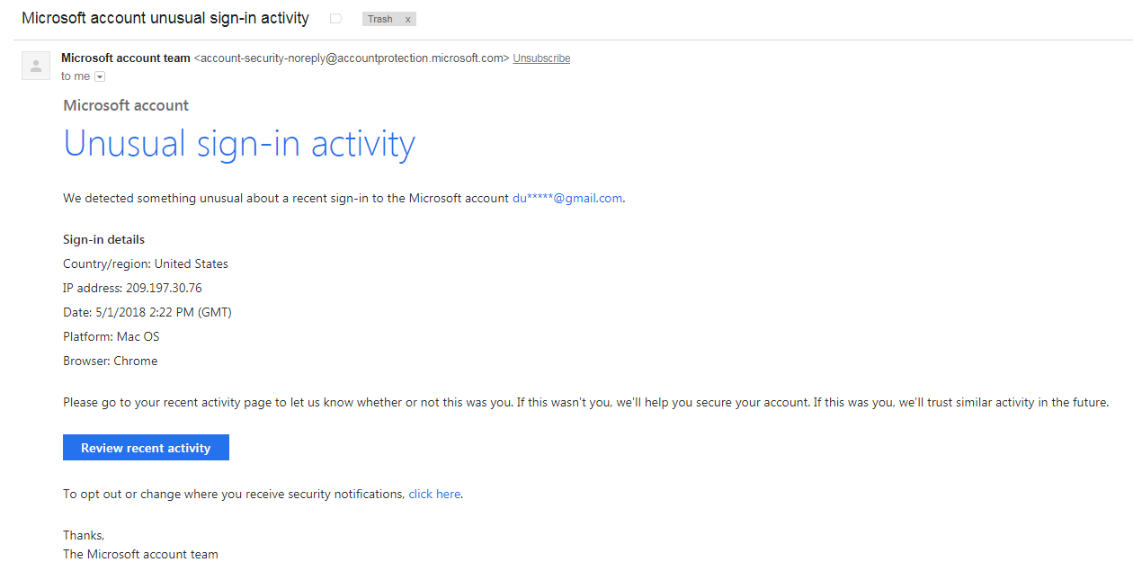 Microsoft account unusual sign-in activity- phishing/scam