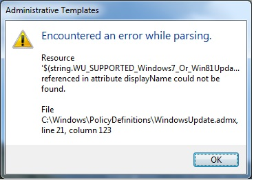 then the windows update is missing from computer configuration administrative templates