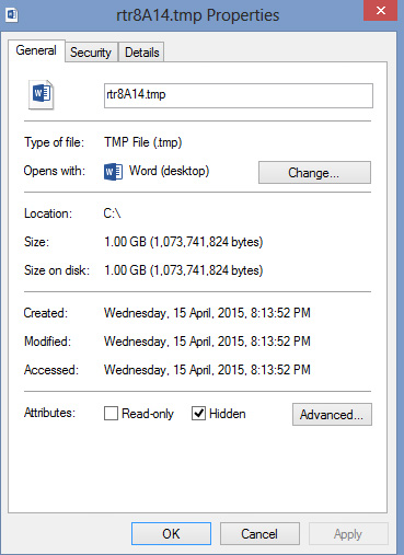 File named rtr8A14 tmp in my C: Drive is it safe to remove