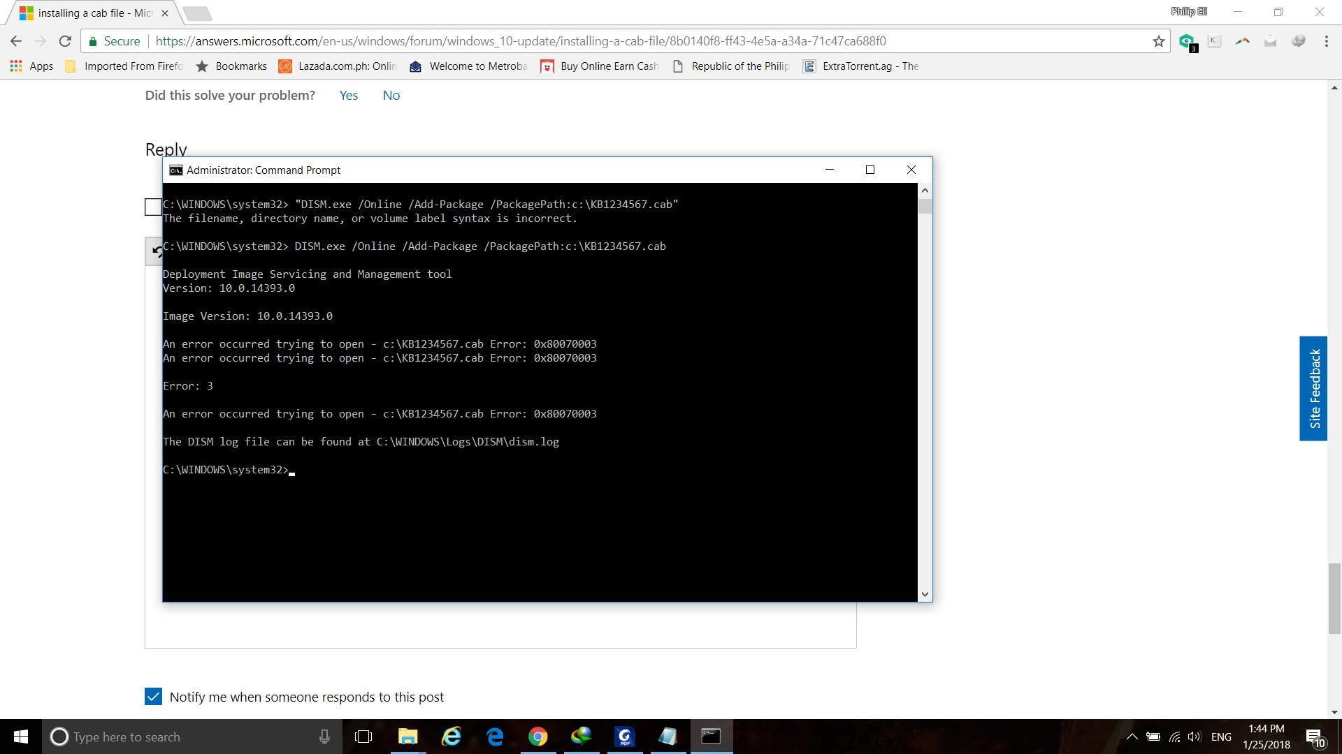 installing a cab file - Microsoft Community