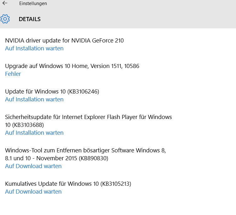 windows 10 update auf installation warten