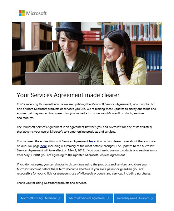 Your Services Agreement Made Clearer Microsoft Community