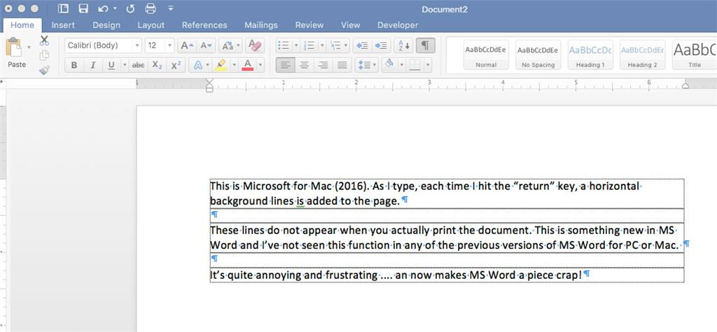 MS Office 2106 Word For Mac Ver 1527