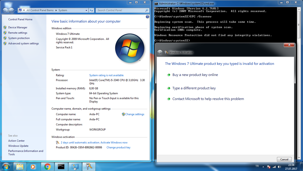 I cant activate windows7 - Microsoft Community