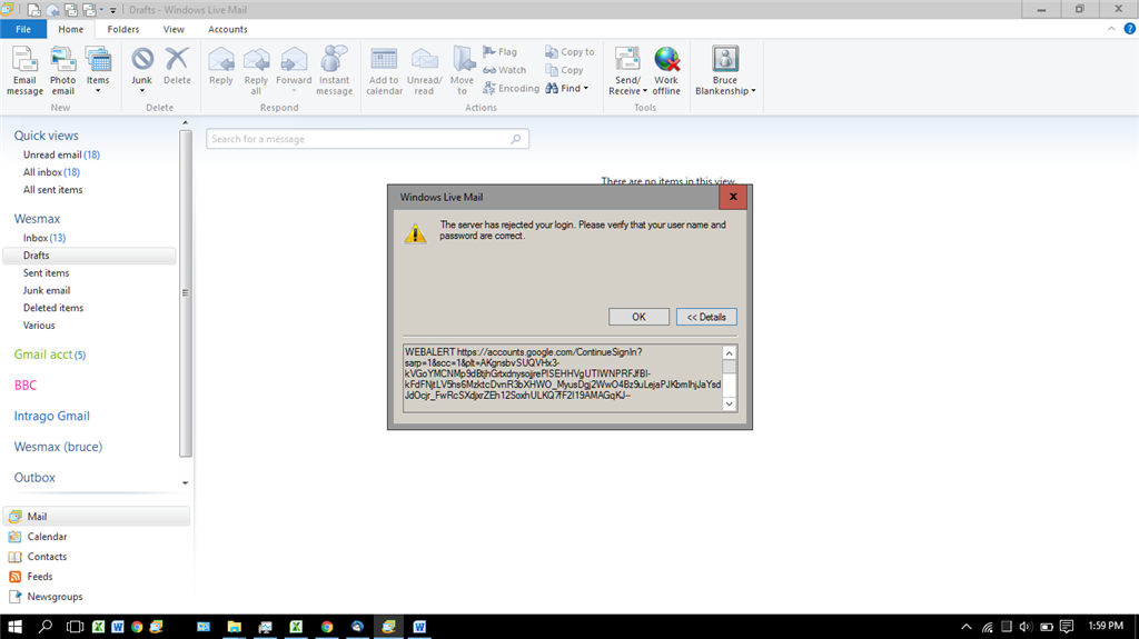Windows Live Mail has stopped working: Error 0X800CCC90 - Microsoft