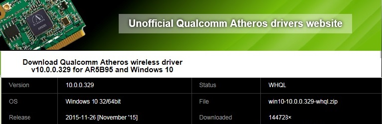 Atheros Ar5b95 Wireless Network Adapter Driver скачать