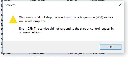 Scanner error in Windows 10 WIA issue - Microsoft Community