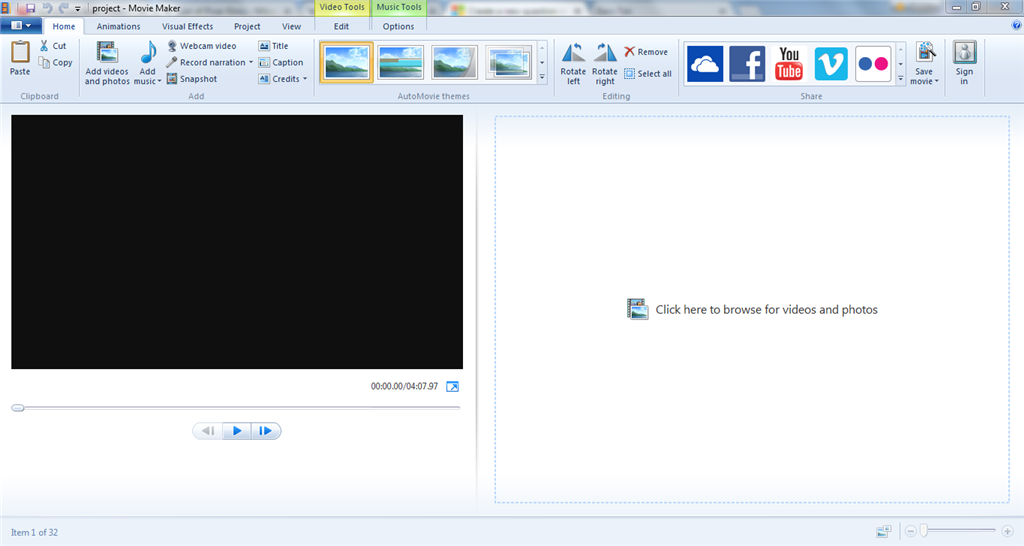 Windows movie maker not showing project files microsoft community on the timeline it looks like no clips or audio have been put in but it still shows that the project is 4 minutes long and it shows item 1 of 32 ccuart Images