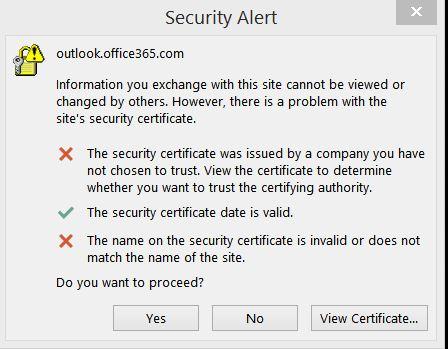 How do I resolve a Security Alert - outlook.office365.com ...