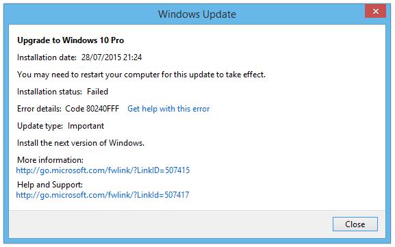 Windows 10 upgrade fehlgeschlagen