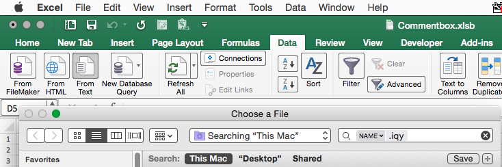 My Mac OS Users cannot open  iqy files exported from