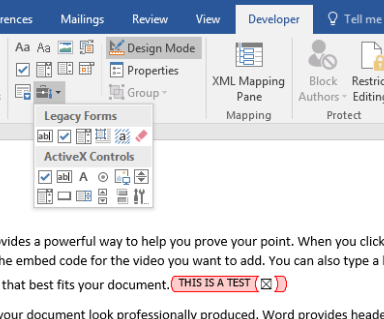 microsoft word content control