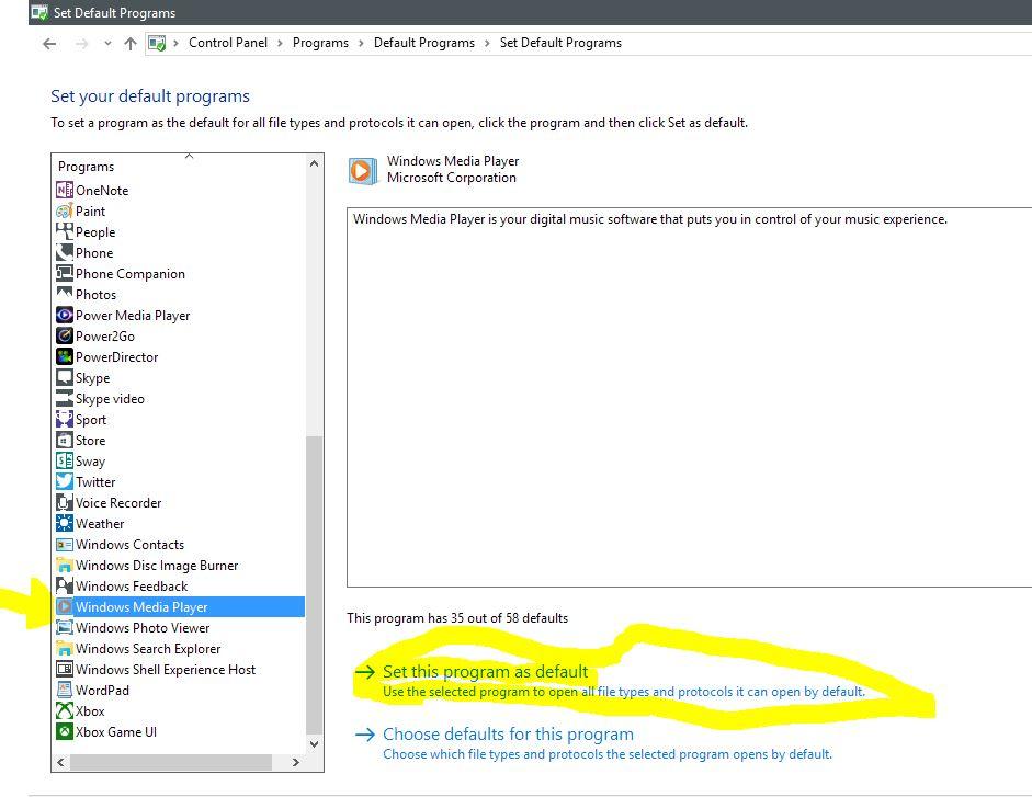 Making windows media player the default program for wma
