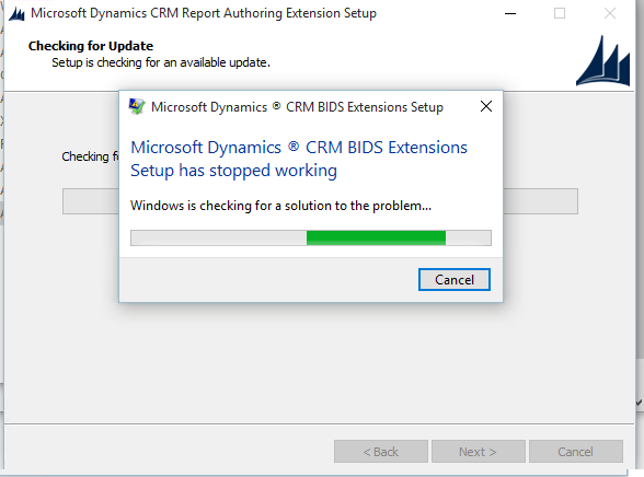 Unable to install Microsoft Dynamics CRM Report Authoring