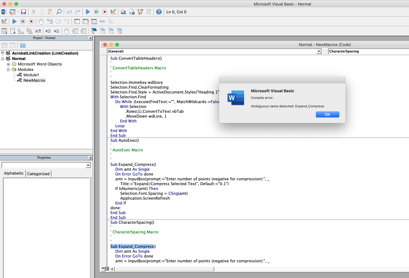 Word Mac 16 26 - app now opens with VBA error