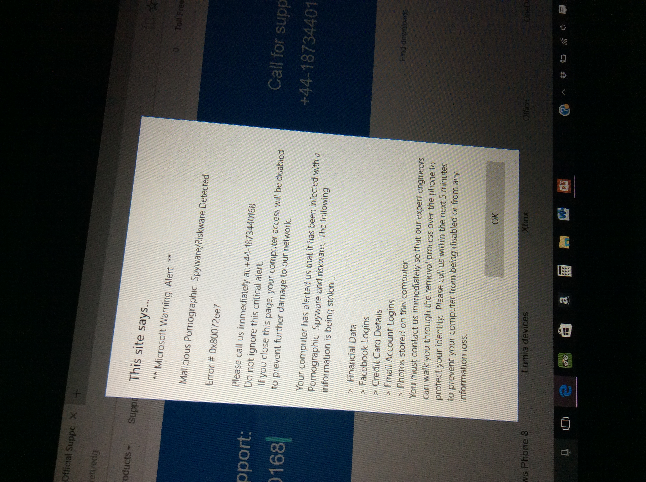 Microsoft warning alert - Microsoft Community