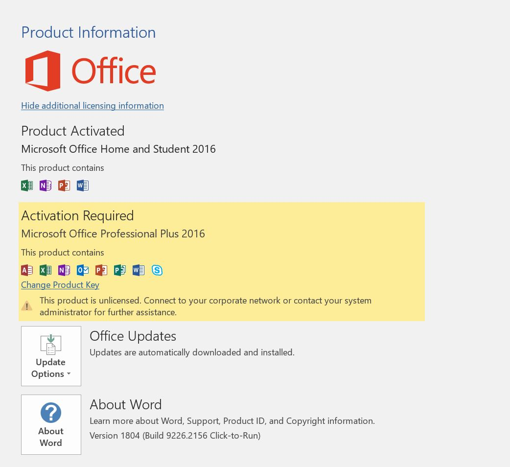 office professional plus 2016 activation required