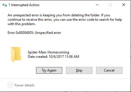 An unexpected error is keeping from deleting a specific