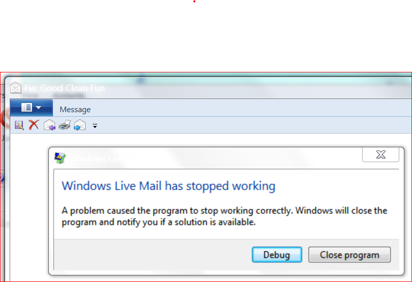 Windows Live Mail Has Stopped Working