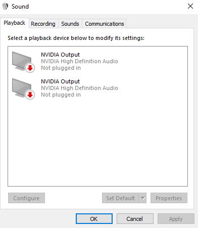 NVidia high definition audio manager only using HDMI and can