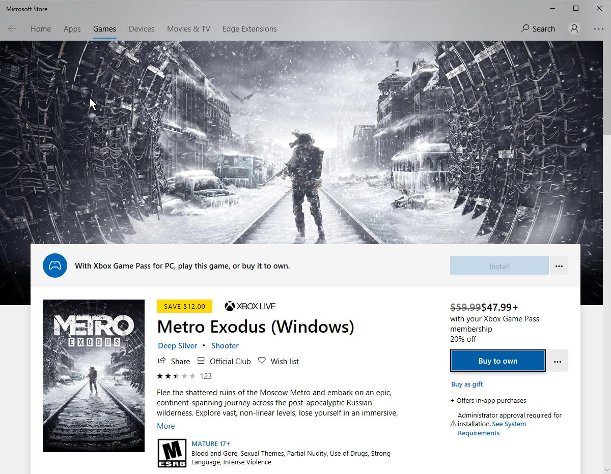 Can't Download Metro Exodus with the Xbox Game Pass for Windows [​IMG]