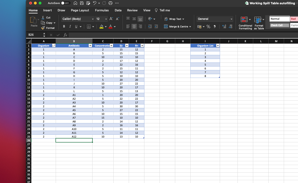Autofilling Tables in excel based on selection from a drop down ...