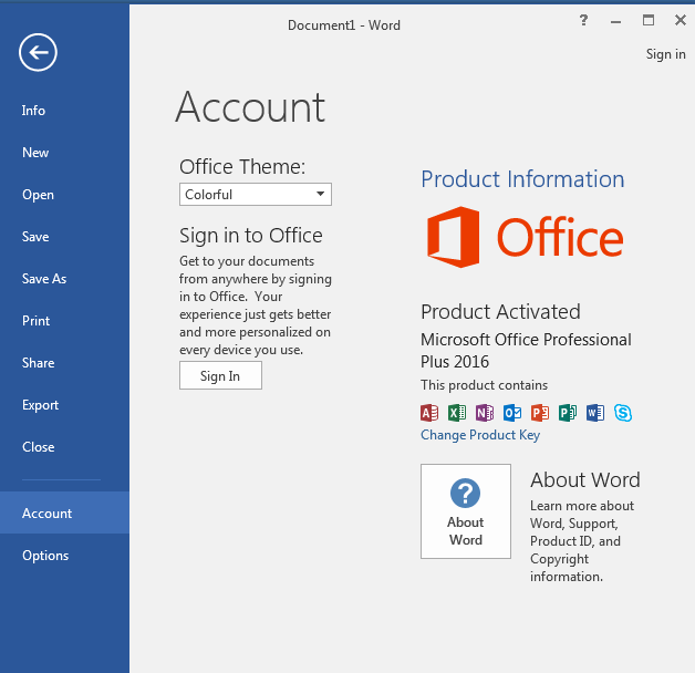Office 2016 does not show up Update Options in Account