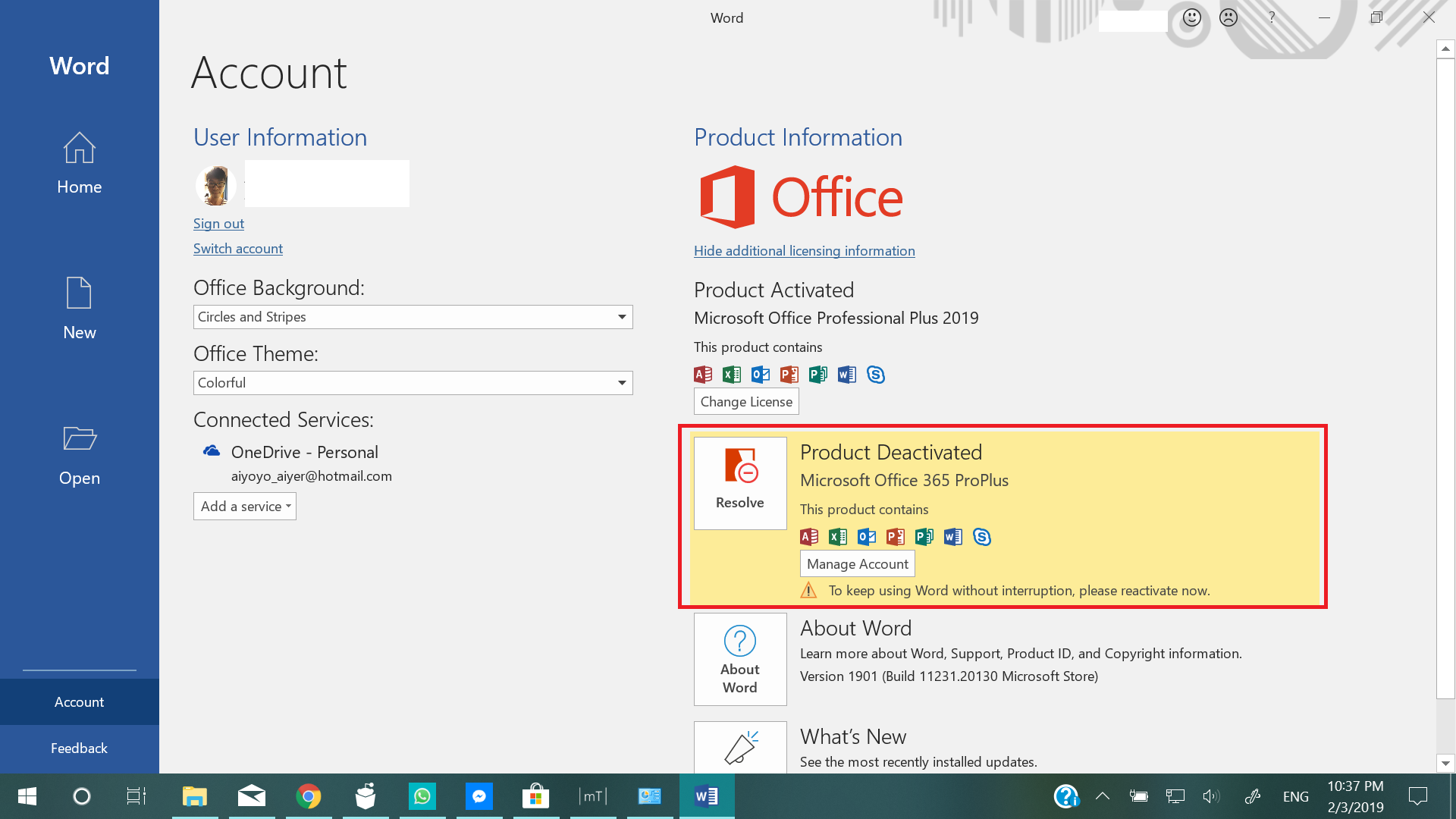 Activation conflict between MS Office 365 and MS Office