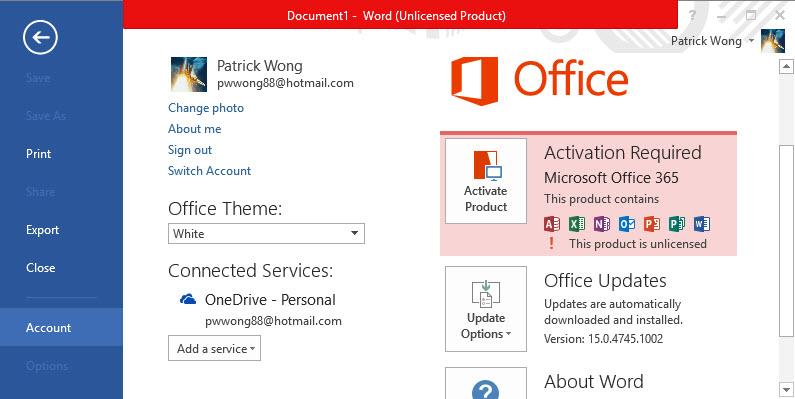 Microsoft office 365 activation error