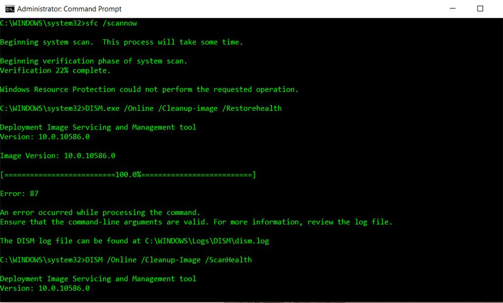 DISM clean up Windows 10 image - Error: 87 - Microsoft Community
