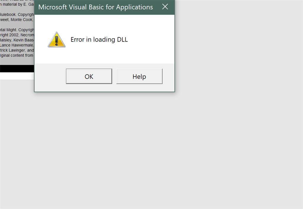 access missing dll error