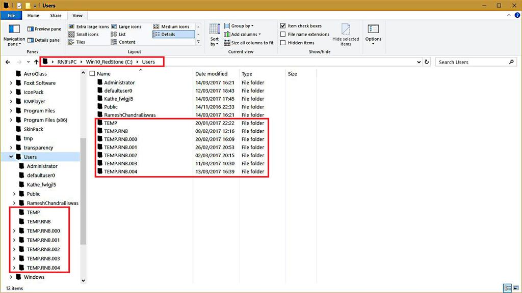 A number of TEMP folders under USERS folder. - Microsoft Community