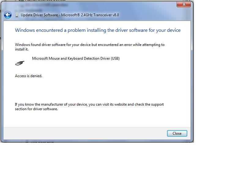 Microsoft 800 wireless keyboard not working in windows 7 - Microsoft