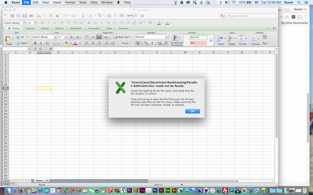 Files not found after update to Excel v14 6 6 of Office for