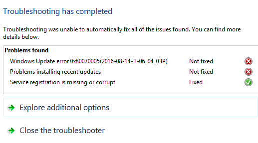 Can't Install Updates Windows 7 Error Code 0x80070005
