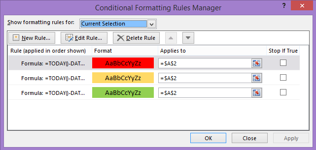 Change cell colors based on date (conditional formatting