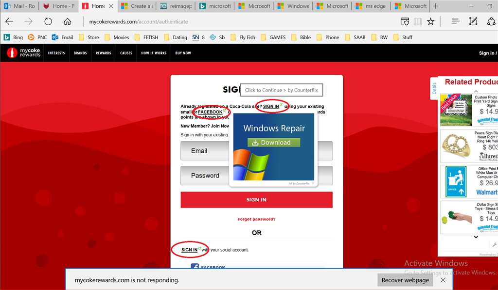 Win 10 with ms edge slow recover webpage get popup ad word links image ccuart Images