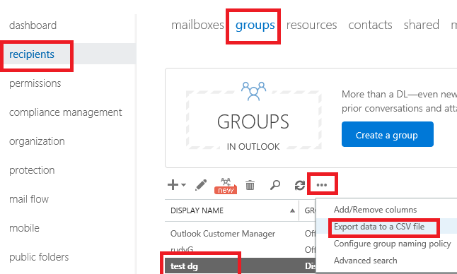 Exporting distribution groups FROM office 365 - Microsoft