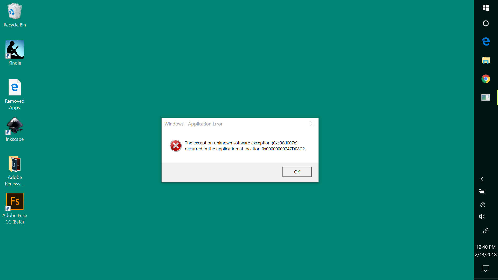 The exception unknown software exception ( 0xc06d007e ) - Microsoft