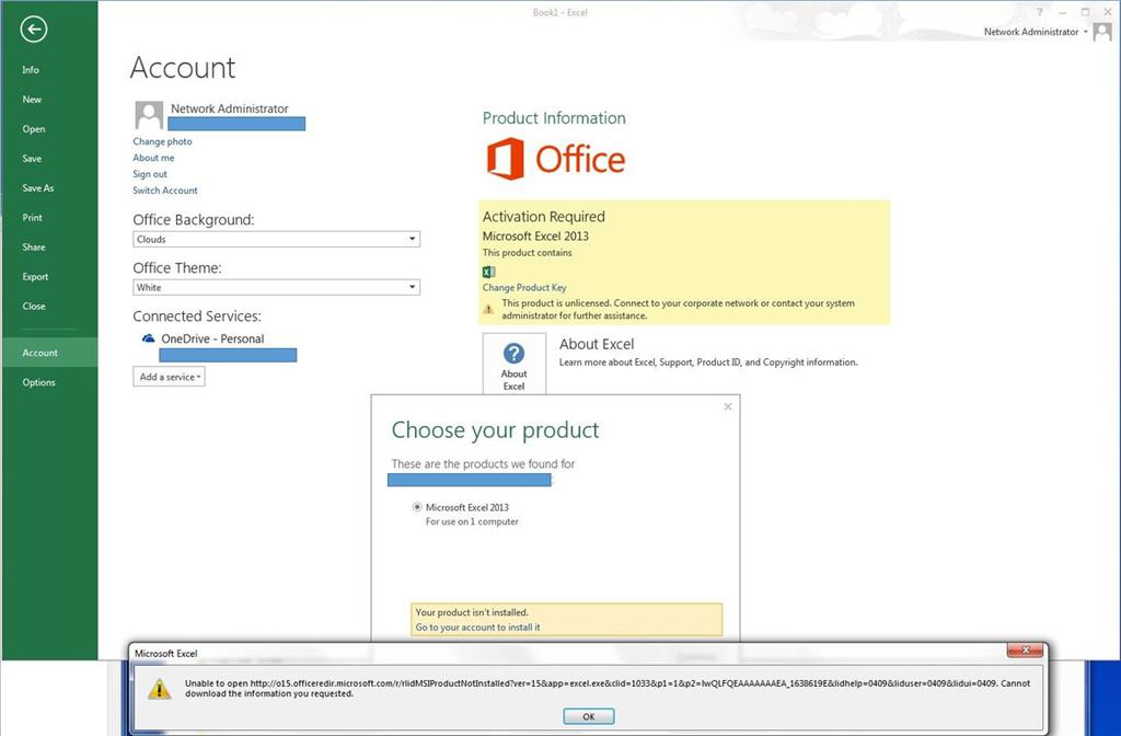 excel activation key failed