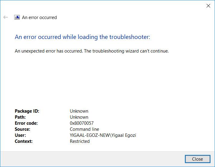 WINDOWS 10 fix Troubleshoot compatibility error 0x80070057