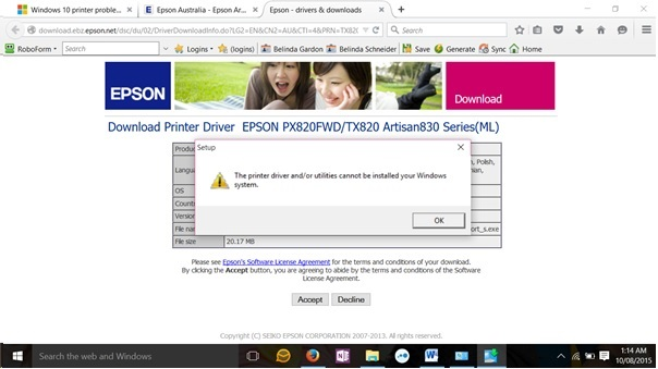 Windows 10 Printer Unavailable - Epson Artisan 835