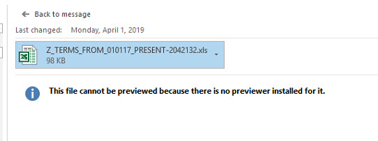 The file cannot be previewed because there is no previewer installed