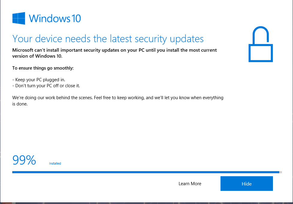 Windows update stuck at 99% for long time - Microsoft Community