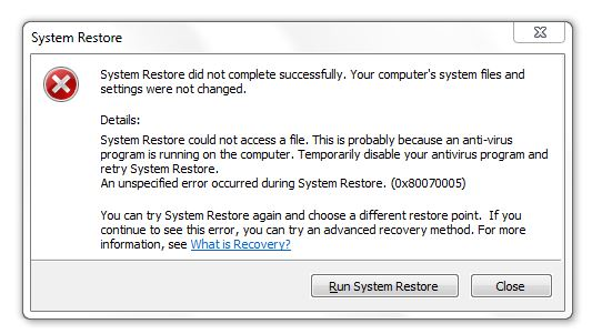 Top Five System Restore Did Not Complete Successfully
