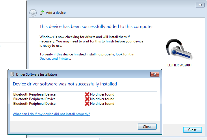 Bluetooth Headset Device Driver Not Found Windows 7 64 Bit Microsoft Community