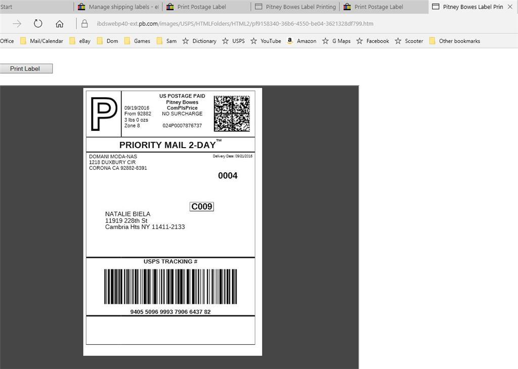 microsoft edge won't let me print ebay labels correctly - Microsoft