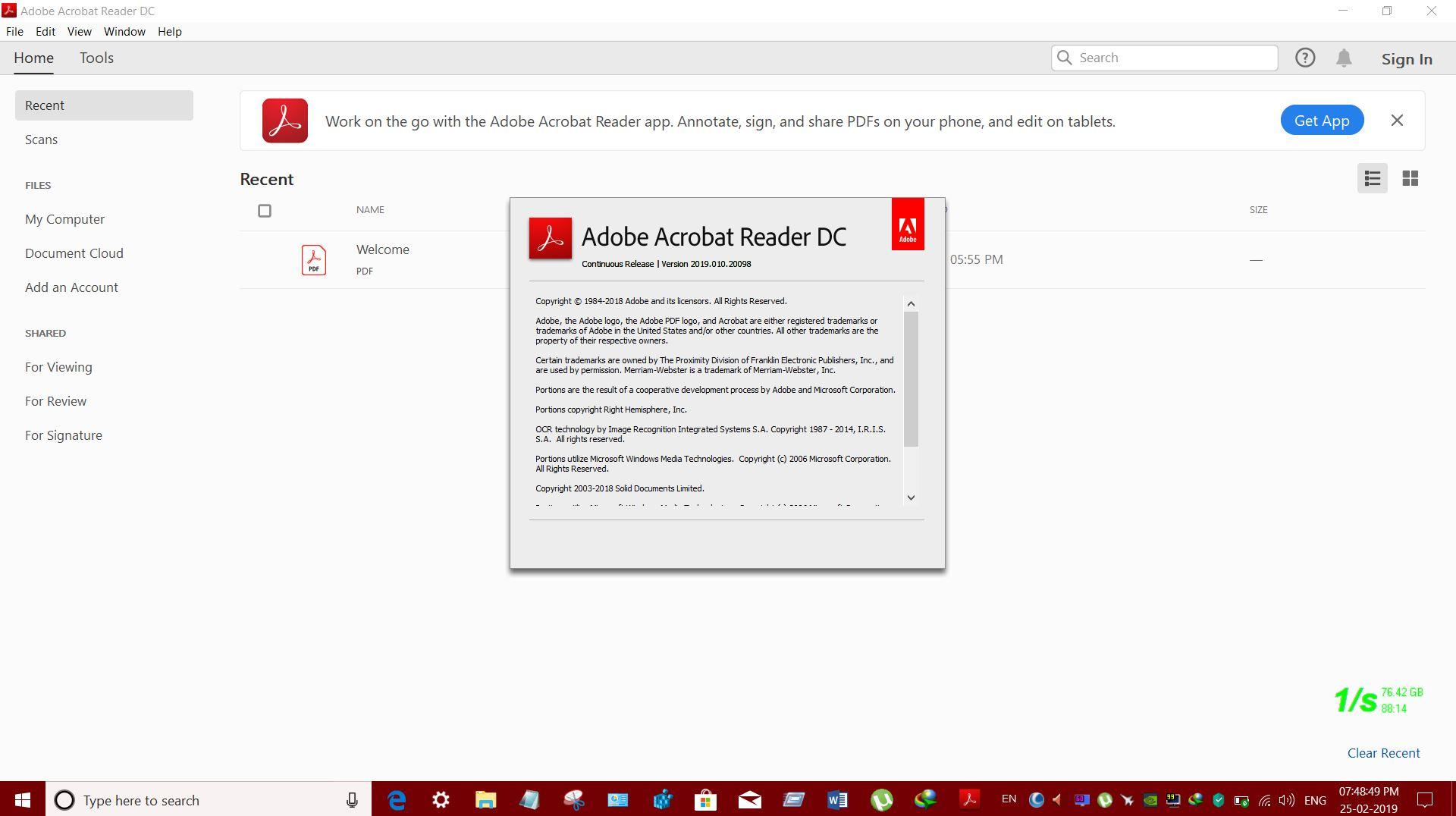 ADOBE RELEASED ACROBAT DC READER v1901020098 FOR WINDOWS CLIENT OS