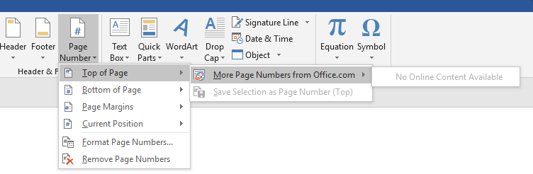 Cant Insert Page Numbers In Word For Office365 Pro Plus Microsoft